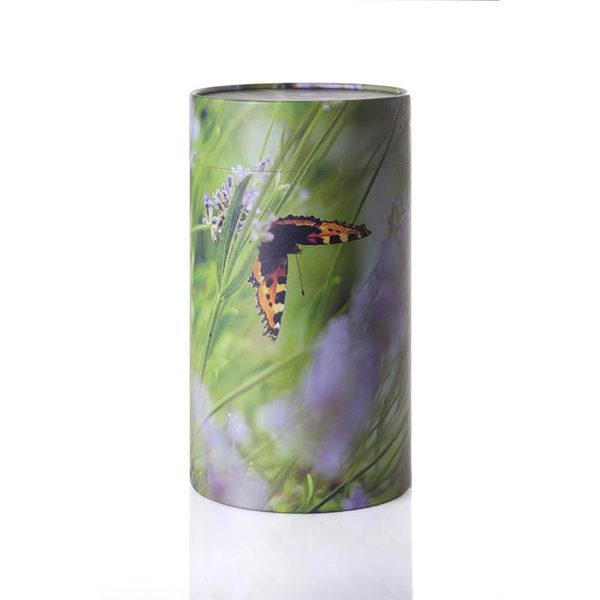 Urne til askestrøning med sommerfugle