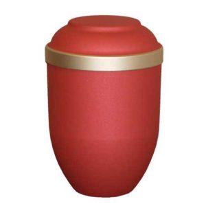 Freja urne med guldkant i rød